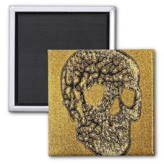 Golden Scull Refrigerator Magnet