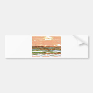 Golden Sea CricketDiane Ocean Waves Art Bumper Sticker