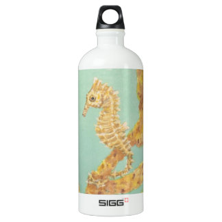 Golden Sea Horse in an aqua ocean Aluminum Water Bottle