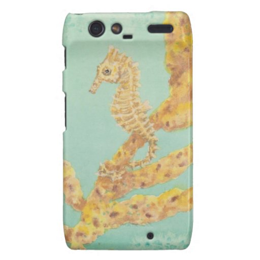 Golden Sea Horse in an aqua ocean Motorola Droid RAZR Cases