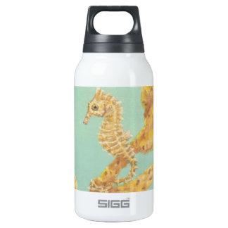 Golden Sea Horse in an aqua ocean Insulated Water Bottle