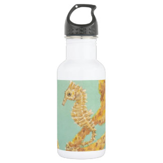 Golden Sea Horse in an aqua ocean Water Bottle