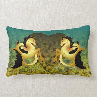 Golden Sea Horse Lumbar Pillow