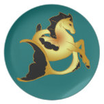 Golden Sea Horse Plate