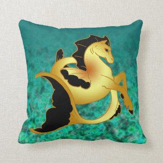 Golden Sea Horse Throw Pillow