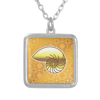 Golden Sea Shell Nautilus Square Pendant Necklace