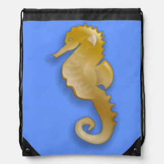 Golden Seahorse Drawstring Bag