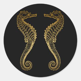 Golden Seahorse Sticker