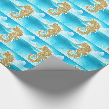 Beach Themed Golden Seahorse with Ocean Blue Wrapping Paper