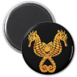 Golden Seahorses 2 Inch Round Magnet