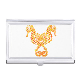 Golden Seahorses Case For Business Cards