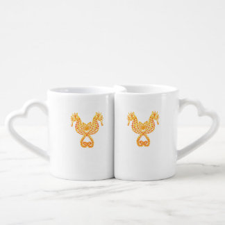Golden Seahorses Couples' Coffee Mug Set