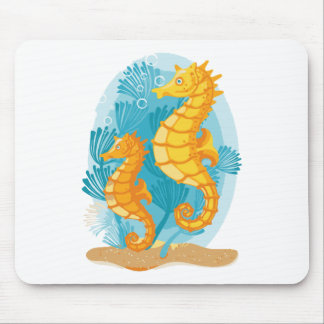 Golden Seahorses in the Ocean Mouse Pad