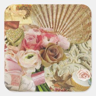 Golden Seashell Square Sticker