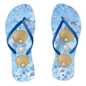 Beach Themed Golden Seashells & Pearls Blue Bokeh Bling Flip Flops