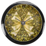 Golden Sequins with Bow Fish Tank Clocks