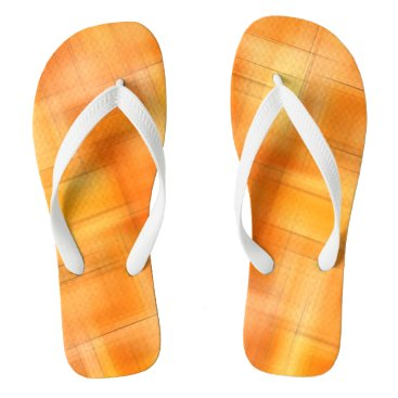 Beach Themed Golden Shades Of Plaid Flip Flops