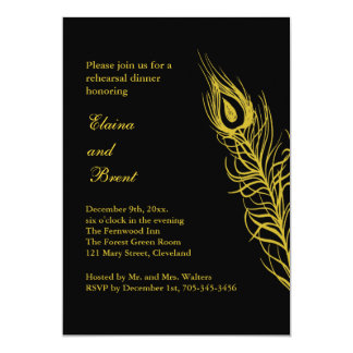 Golden Shake your Tail Feathers Rehearsal Dinner Card