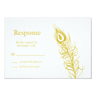 Golden Shake your Tail Feathers RSVP Card