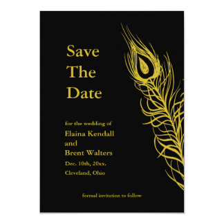 Golden Shake your Tail Feathers Save the Date Card