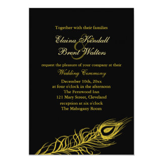 Golden Shake your Tail Feathers Wedding Invitation