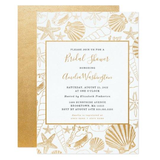 Golden shell bridal shower invite beach theme card zazzle golden shell bridal shower invite beach theme card filmwisefo
