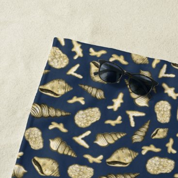 Beach Themed Golden Shells and Coral on Navy Beach Towel
