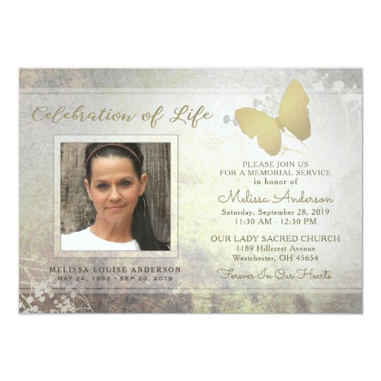 golden shimmer butterfly memorial service invite zazzle com