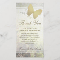 Golden Shimmer Butterfly Thank You Sympathy Card