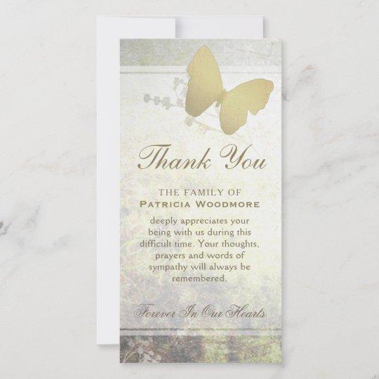 Golden Shimmer Butterfly Thank You Sympathy Card Zazzle Com