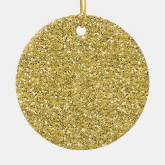 Golden Shimmer Glitter Double-Sided Ceramic Round Christmas Ornament