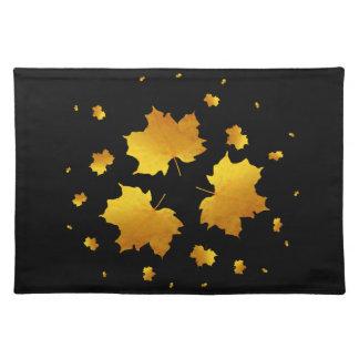 Golden Shimmer Maple Leaf Cloth Placemat