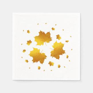 Golden Shimmer Maple Leaf Paper Napkin