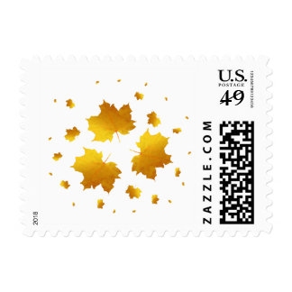 Golden Shimmer Maple Leaf Postage Stamp