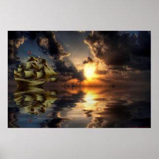 Golden-Ship-Sunset-2-Paint Poster