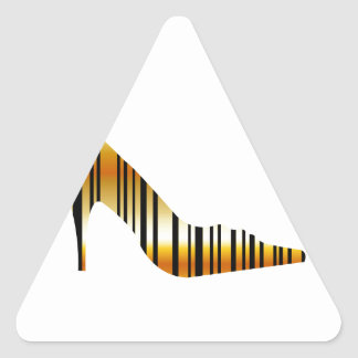 Golden shoe with strips triangle sticker