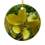 Golden Shower Tree Tropical Yellow Flowers Ceramic Ornament