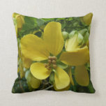 Golden Shower Tree Tropical Yellow Flowers Throw Pillow