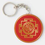 Golden Shree Yantra Keychain