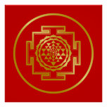 Golden Shree Yantra Poster