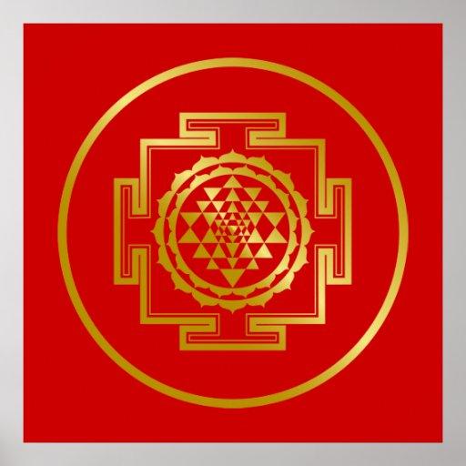 Golden Shree Yantra Poster