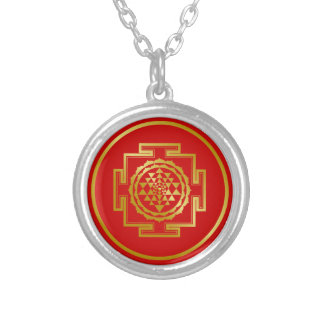 Golden Shree Yantra Silver Plated Necklace