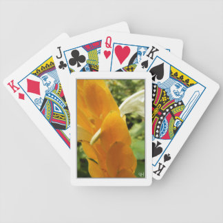 Golden Shrimp Plant Flower Bicycle Playing Cards
