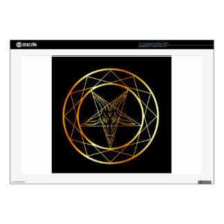 "Golden sigil of Baphomet 17"" Laptop Decal"
