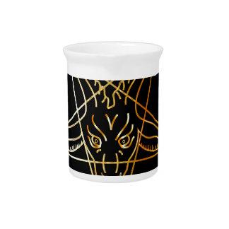 Golden sigil of Baphomet Beverage Pitcher