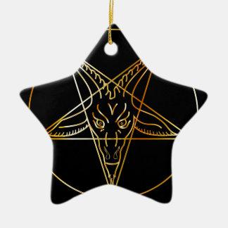 Golden sigil of Baphomet Ceramic Ornament