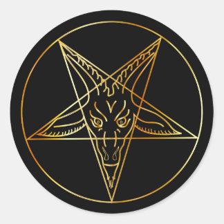 Golden sigil of Baphomet Classic Round Sticker