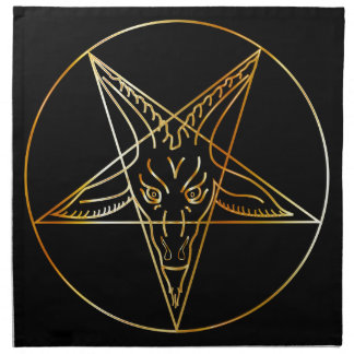 Golden sigil of Baphomet Cloth Napkin