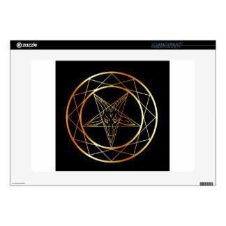 "Golden sigil of Baphomet Decals For 15"" Laptops"