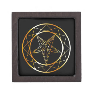 Golden sigil of Baphomet Jewelry Box